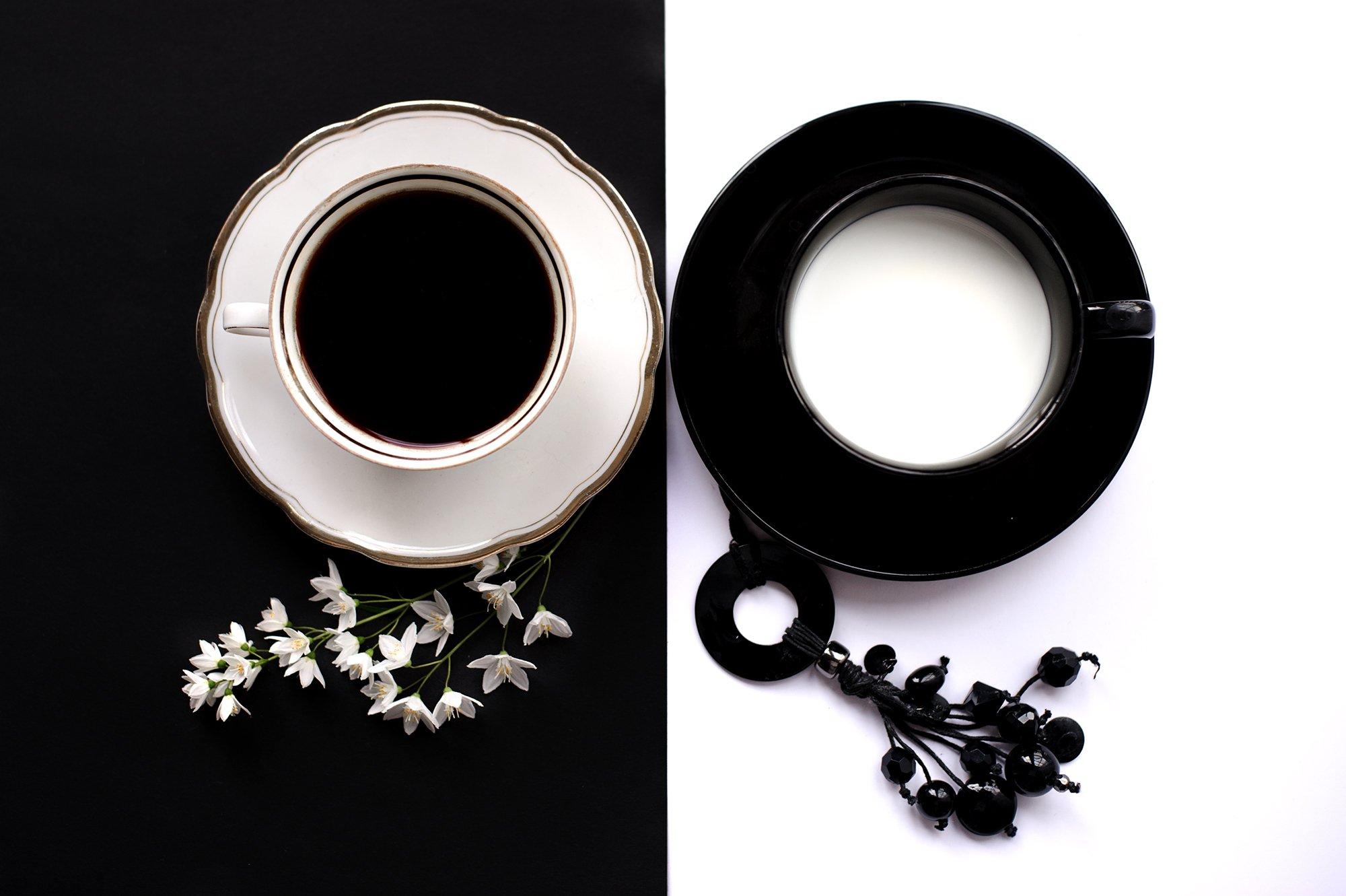 milk, coffee, black, white, cup, Ekaterina Weber