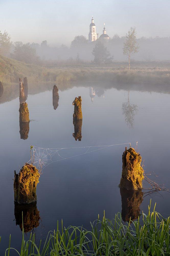 филипповское рассвет туман храм озеро, Yakovlev Artur