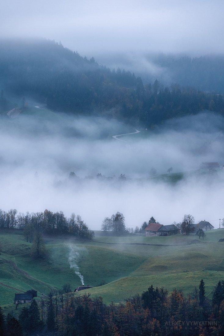 slovenia, fog, morning, village, foggy, slovenian, Алексей Вымятнин