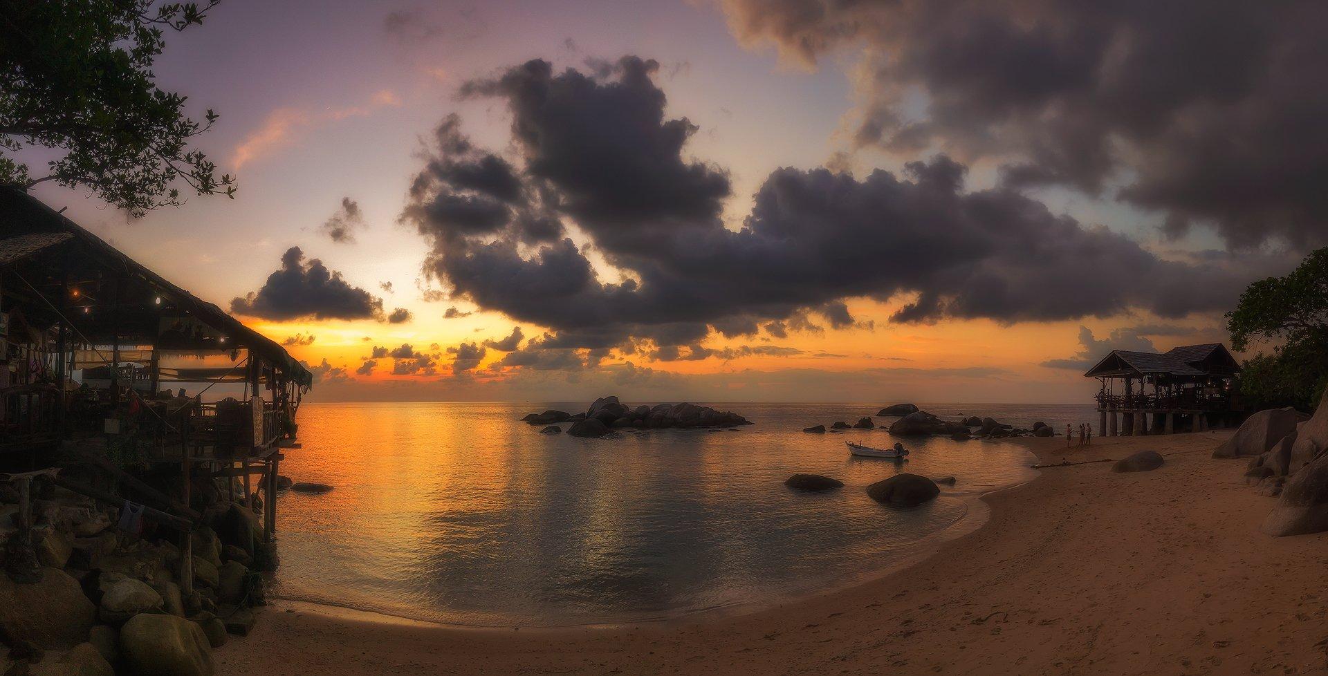панорама, закат, остров, пейзаж, панорама, путешествие, таиланд, остров, тао, солнечный,, Валерий Ряснянский