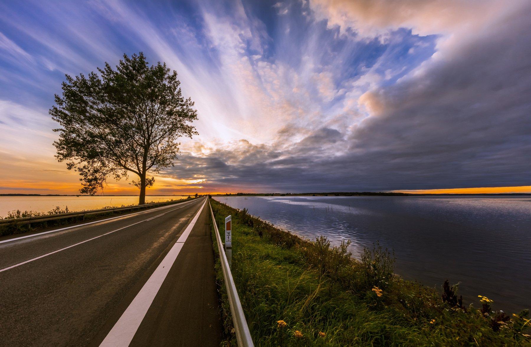 дания, мост, дерево, дорога, облака, закат,, Marat Max (Марат Макс)