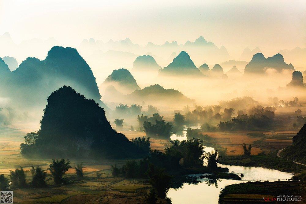 quanphoto, landscape, morning, sunrise, dawn, misty, mountains, foggy, valley, river, rice, vietnam, quanphoto