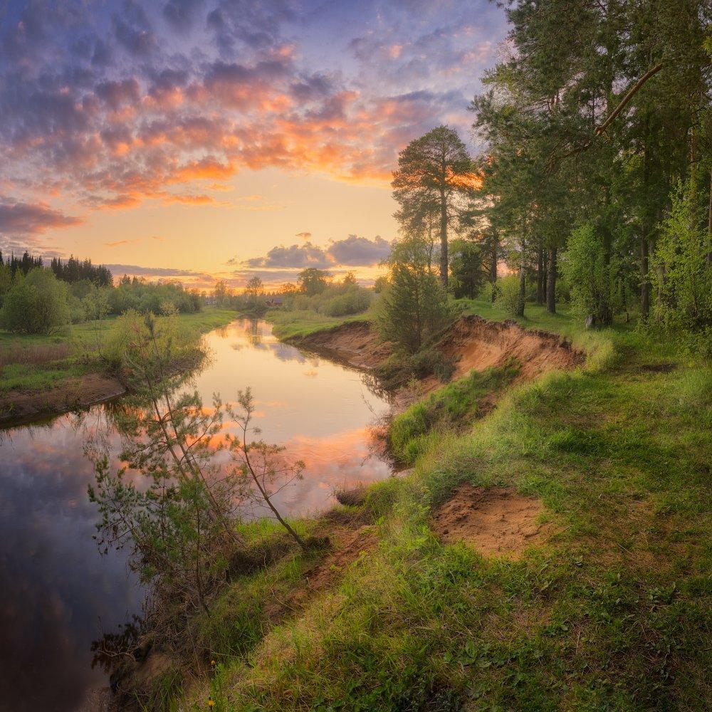 закат, река, весна, Медянцев Дмитрий