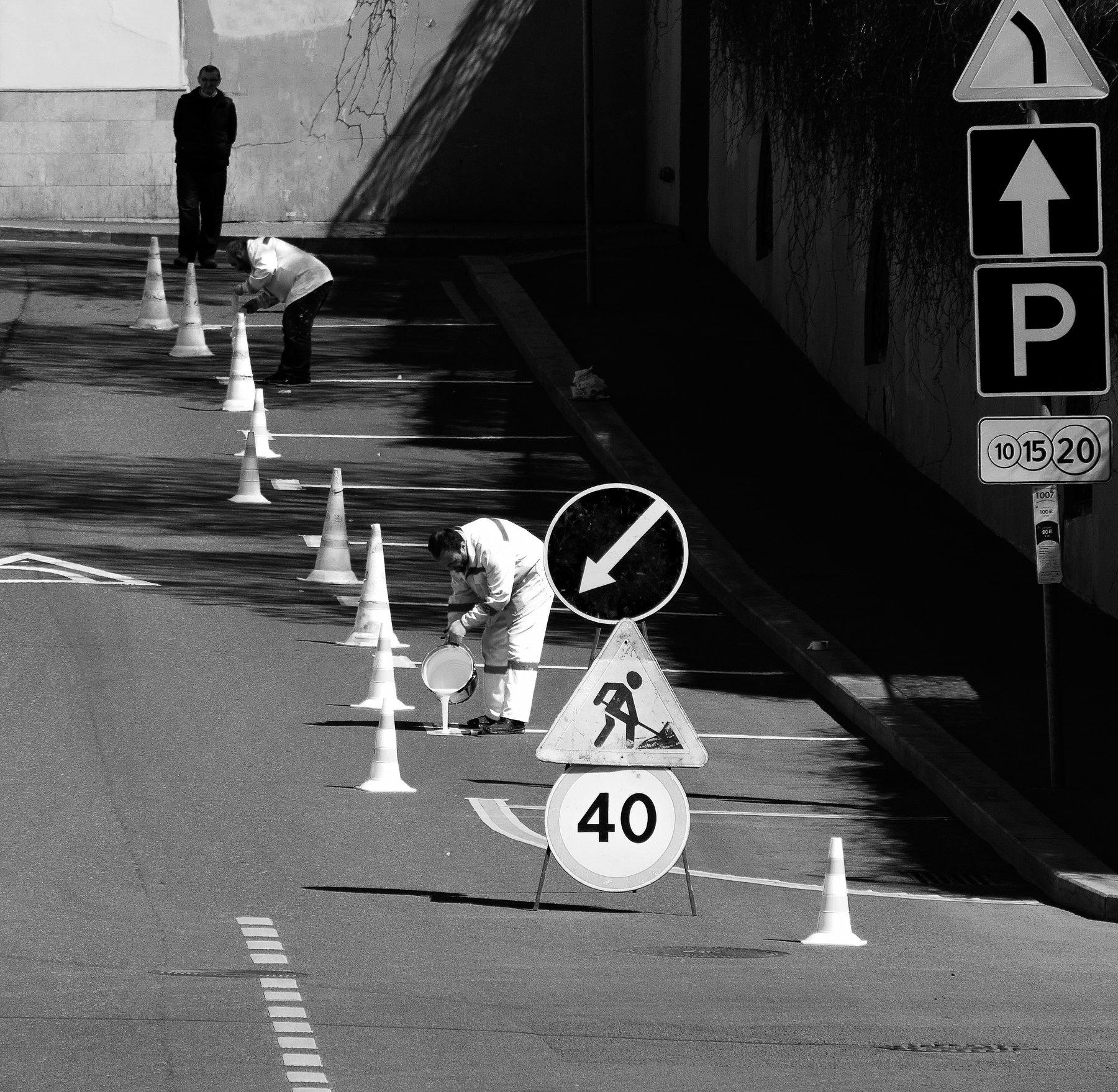 разметка, белая краска, рабочий, дорожный знак, лить, парковка, Ткаченко Дмитрий