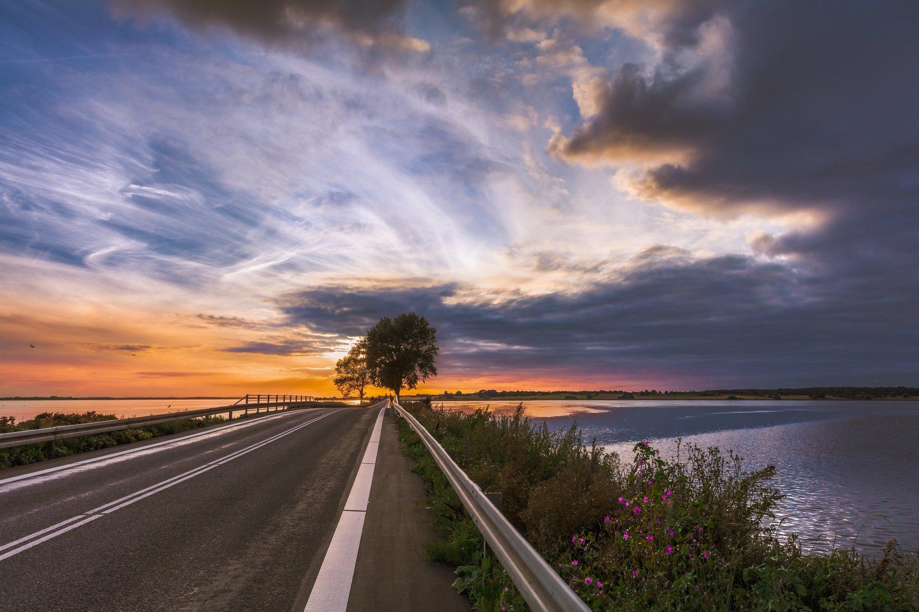 дания, мост, дерево, дорога, облака, закат, небо,, Marat Max (Марат Макс)