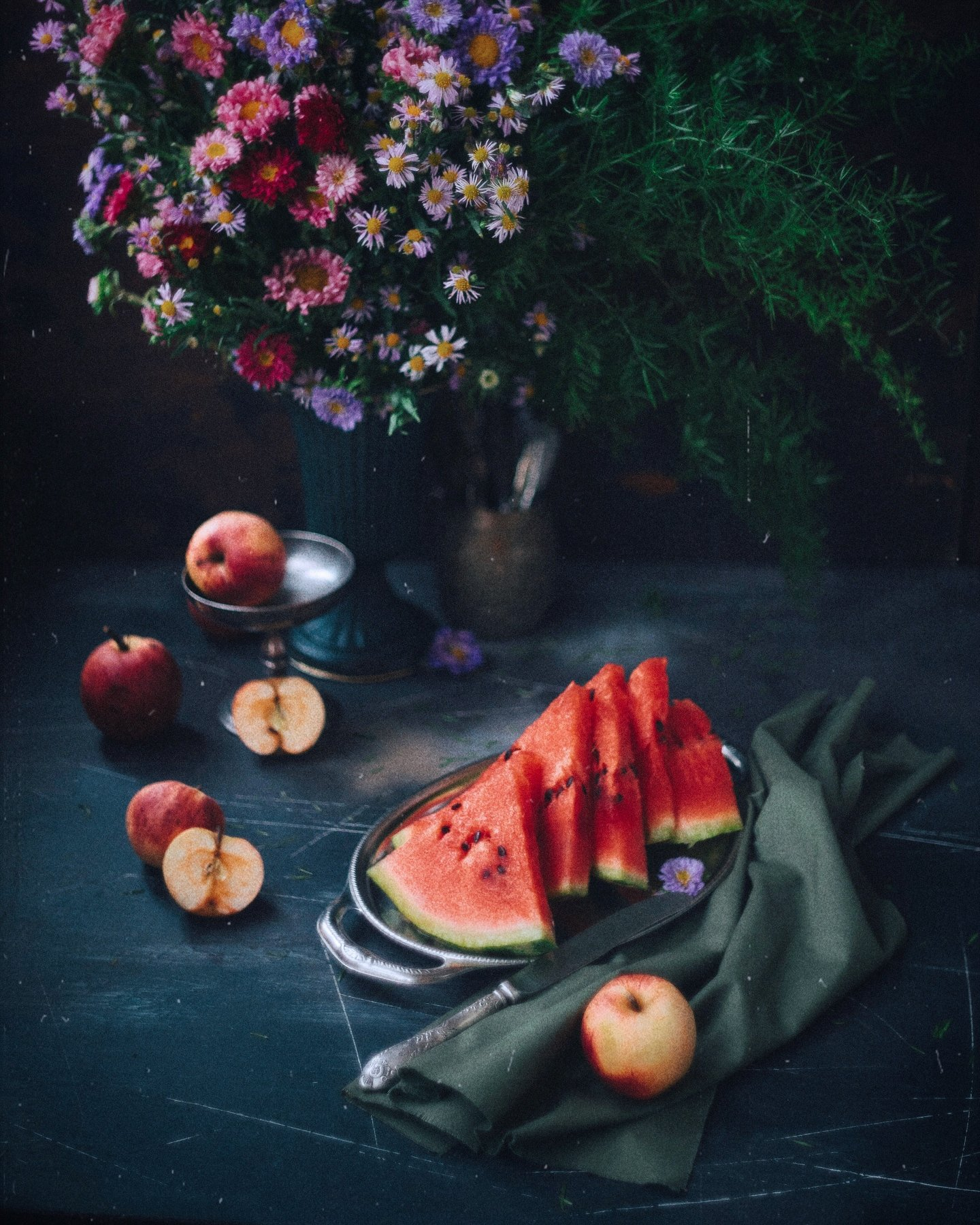 натюрморт, букет, арбуз, яблоки, цвет, Зубкова Анастасия