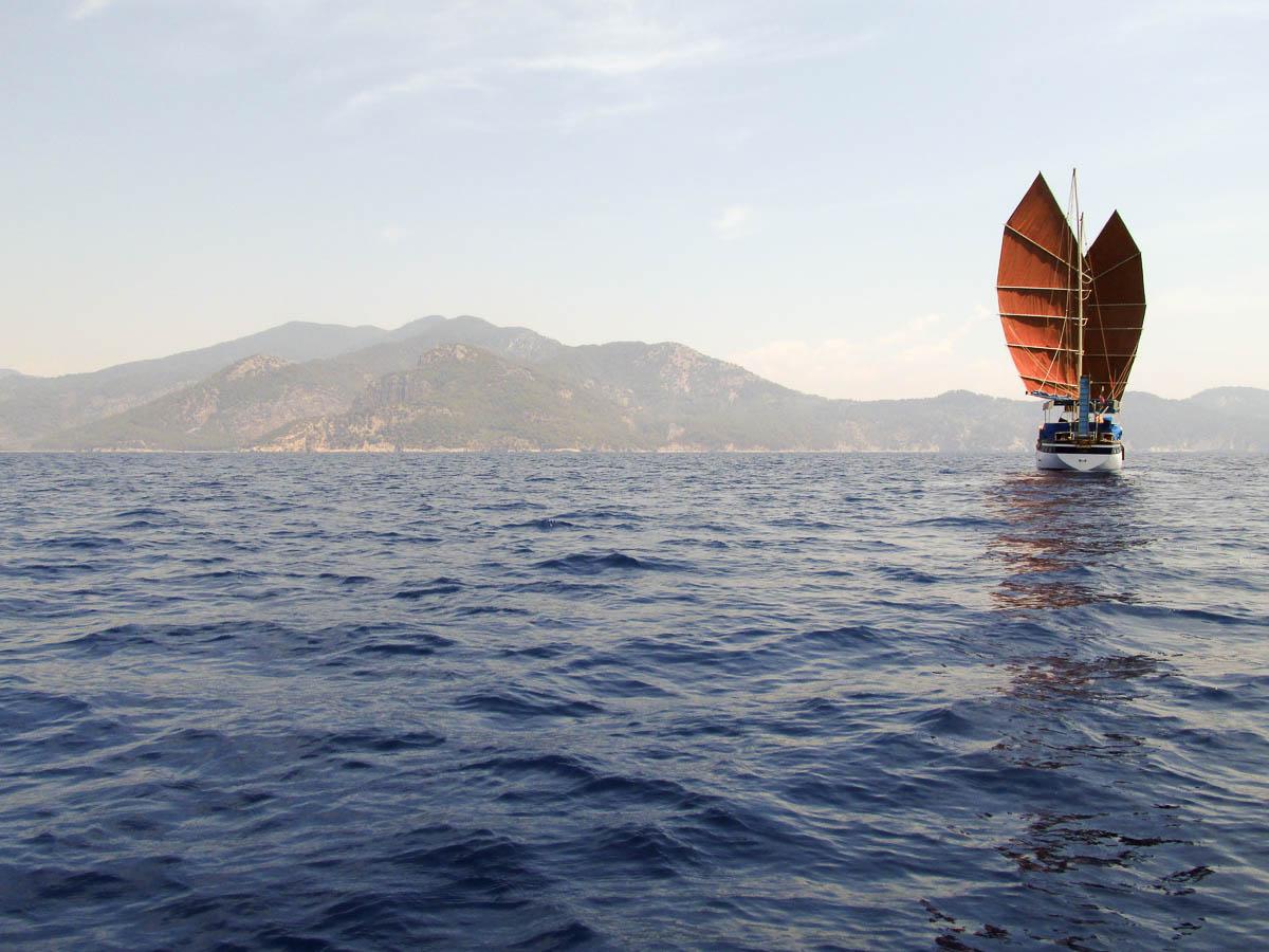 бабочка, джонка, судно, парусник, средиземное море, парус, море, ветер, Сергей Козинцев