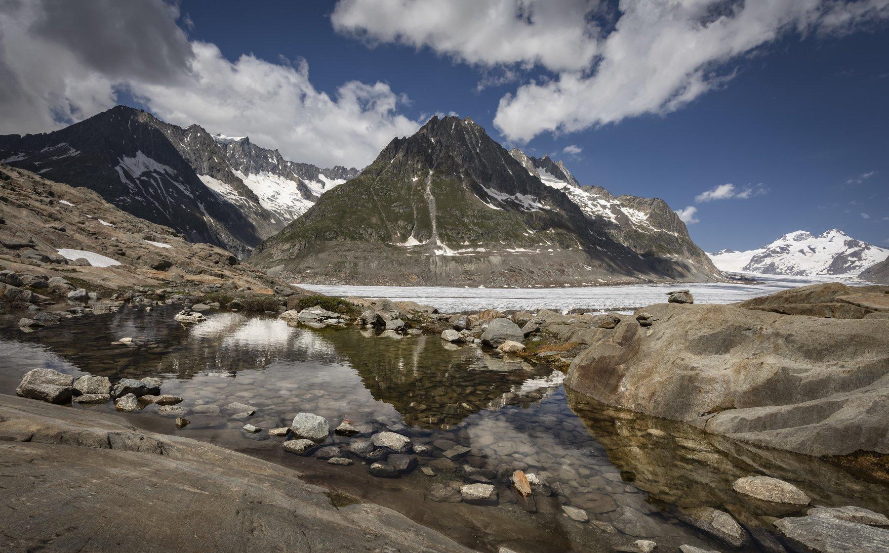 горы, ледник, озеро, Alexandr Bezmolitvenny