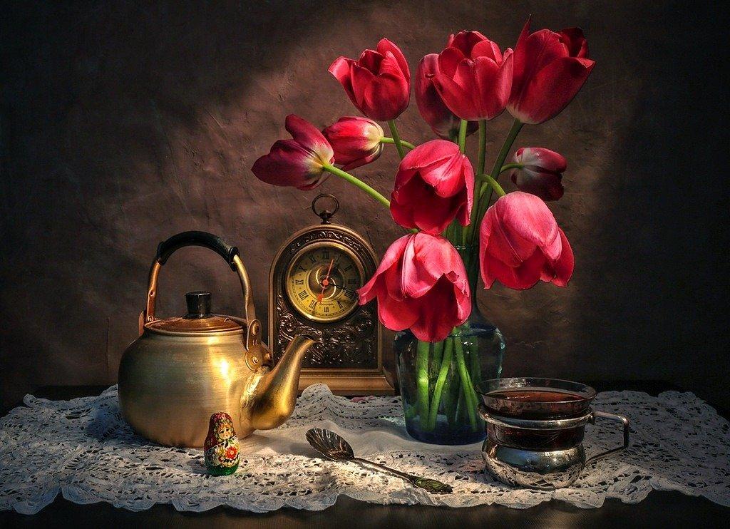 натюрморт,весна,тюльпаны,чай,, Zadorina Svetlana
