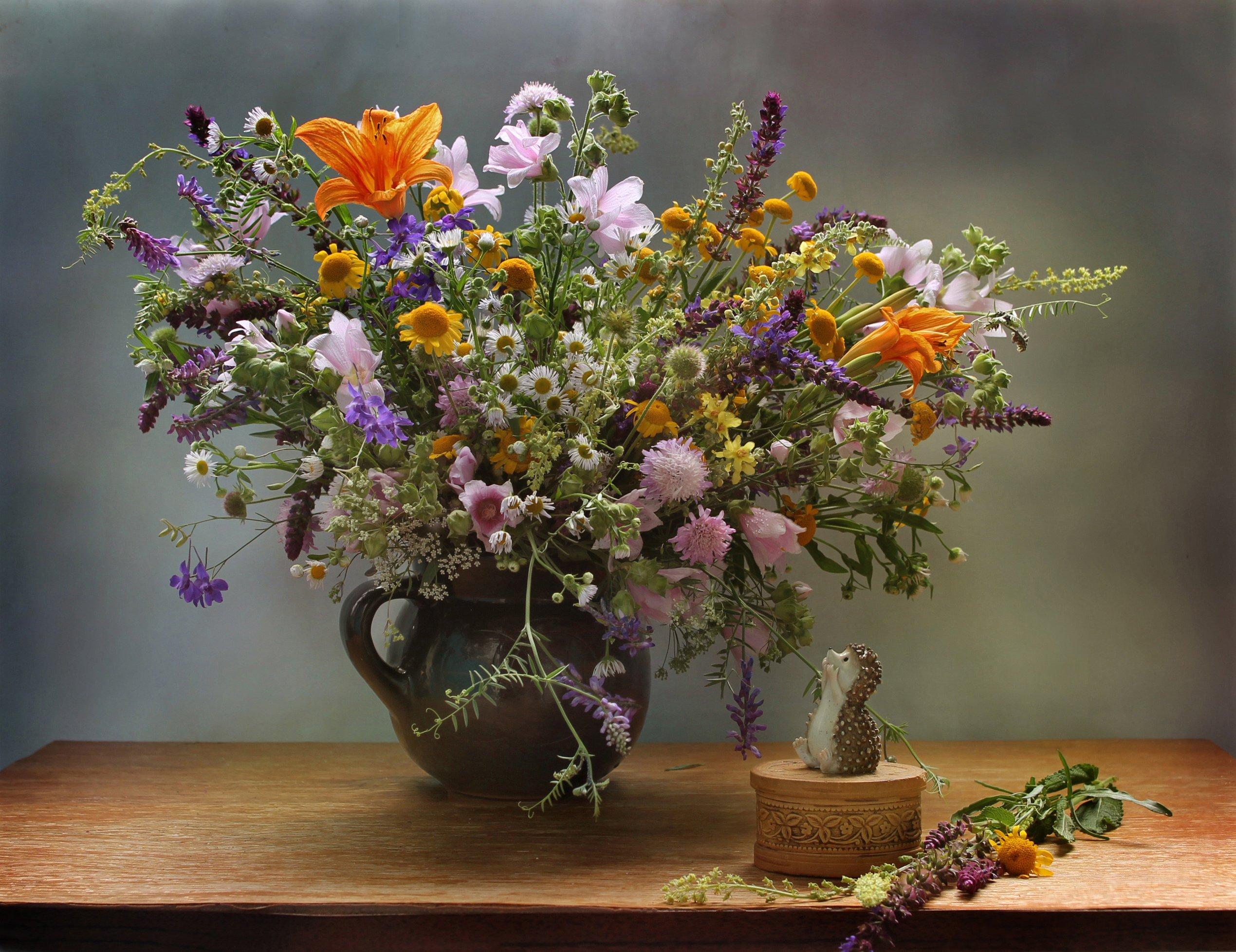 лето, цветы, полевые, ежик, натюрморт, букет, Ковалева Светлана