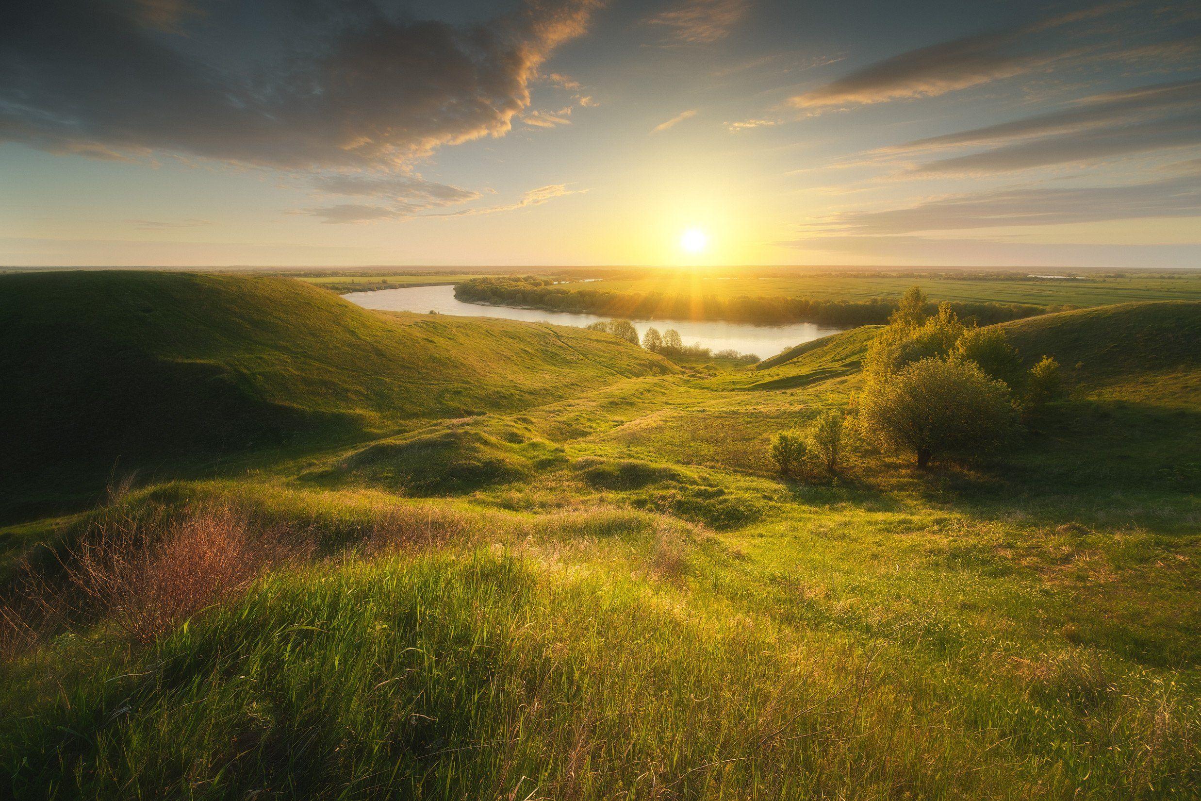 россия, подмосковье, московская область, ока, река, пейзаж, природа, закат, солнце, утро, равнина, весна, холмы, Оборотов Алексей