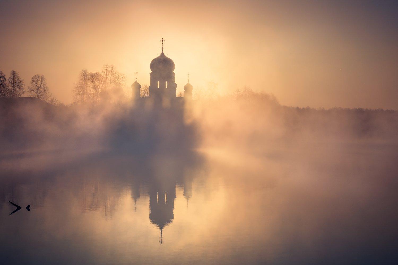 введенская, пейзаж, рассвет, церковь, озеро, туман, Андрей Уляшев