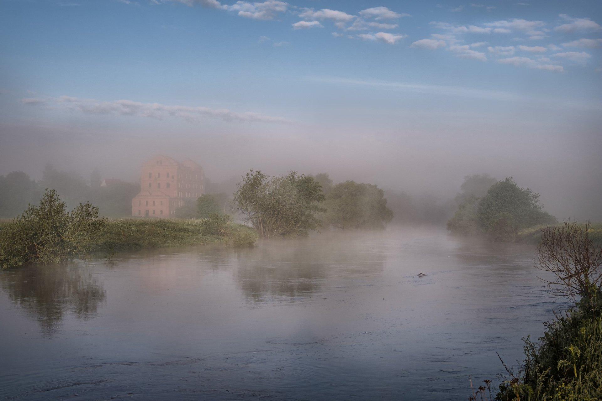 протва, река, наводнение, утро, туман, мельница, Андрей Чиж