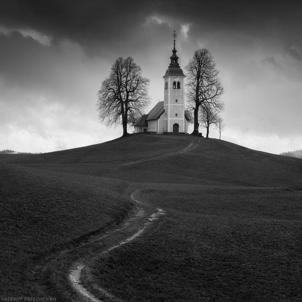 slovenia, church, autumn, landscape, словения, пейзаж, церковь, Валерий Притченко