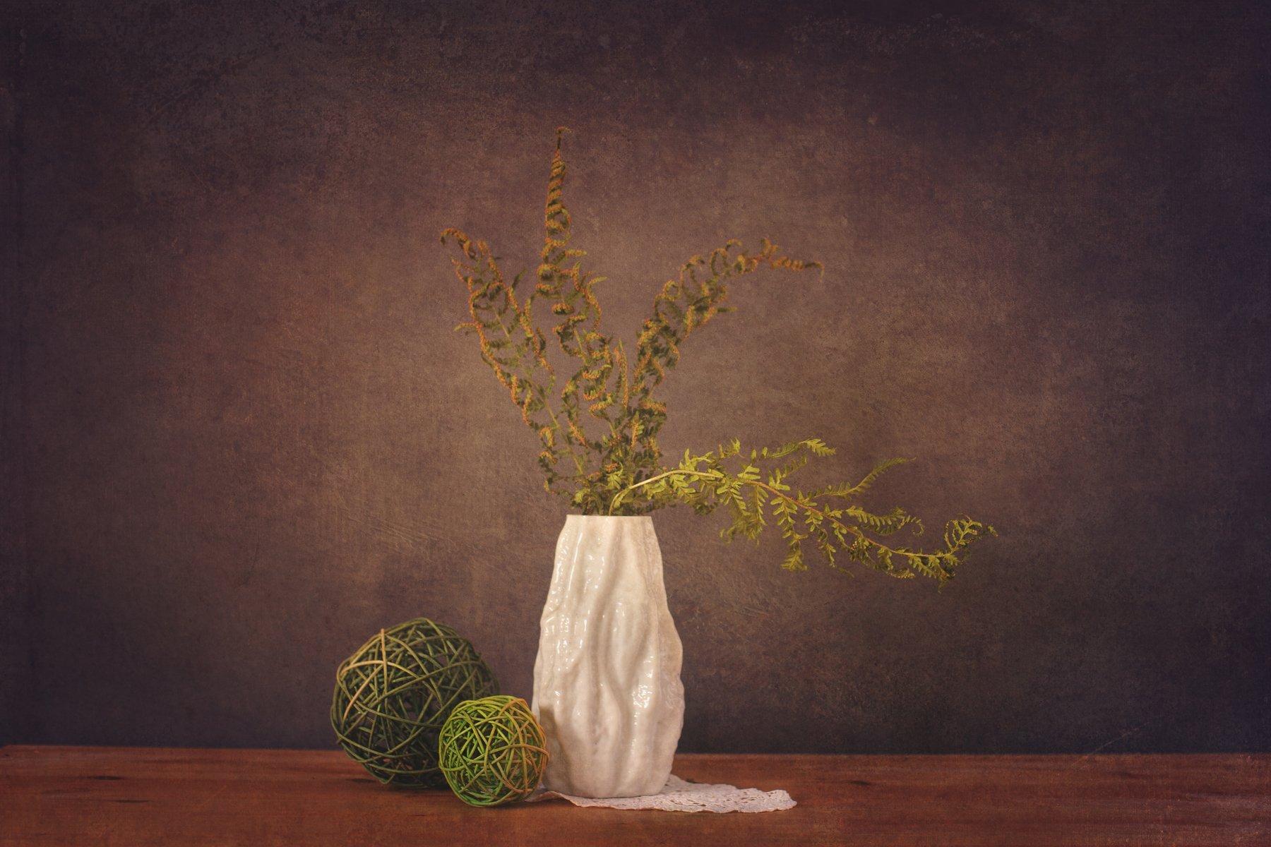 naturmort, stillife, white, green, farn, vase, Ekaterina Weber