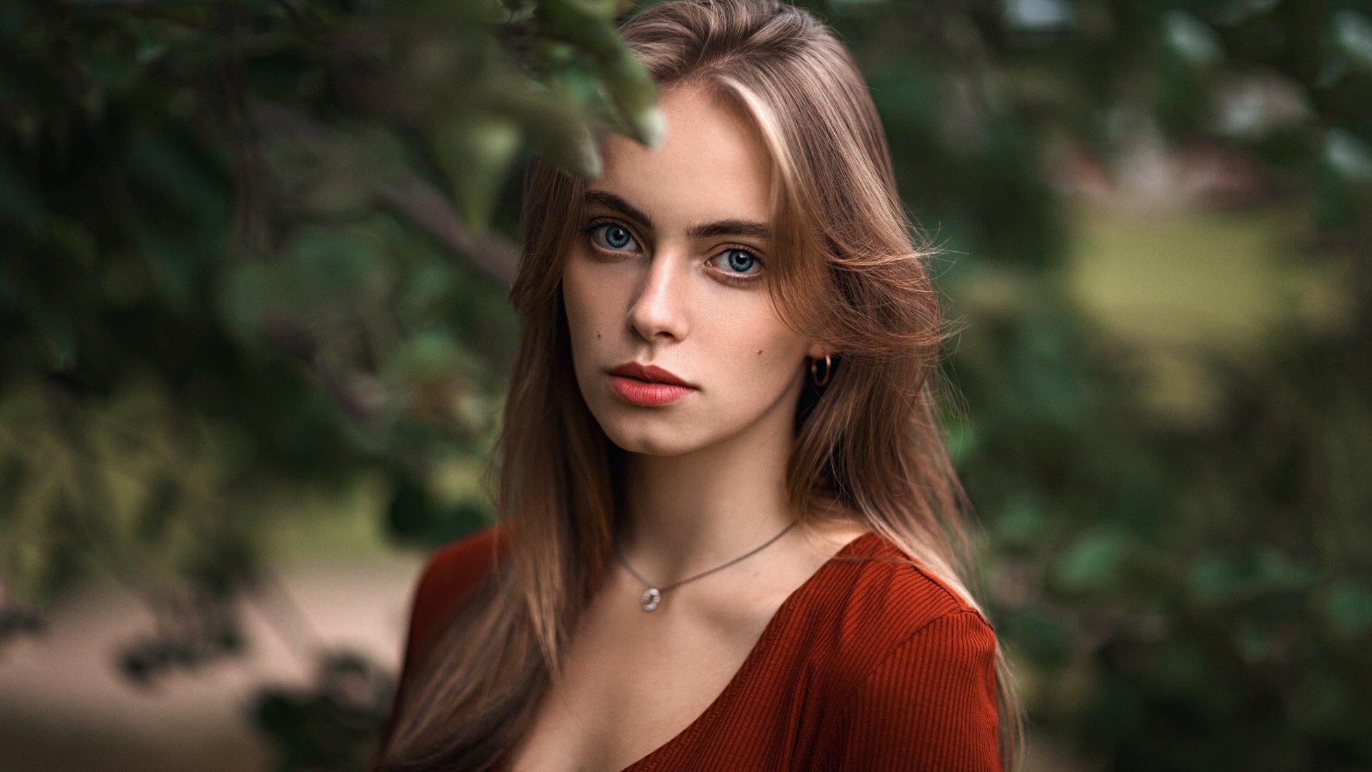 девушка, портрет, зелёный, Куренной Александр