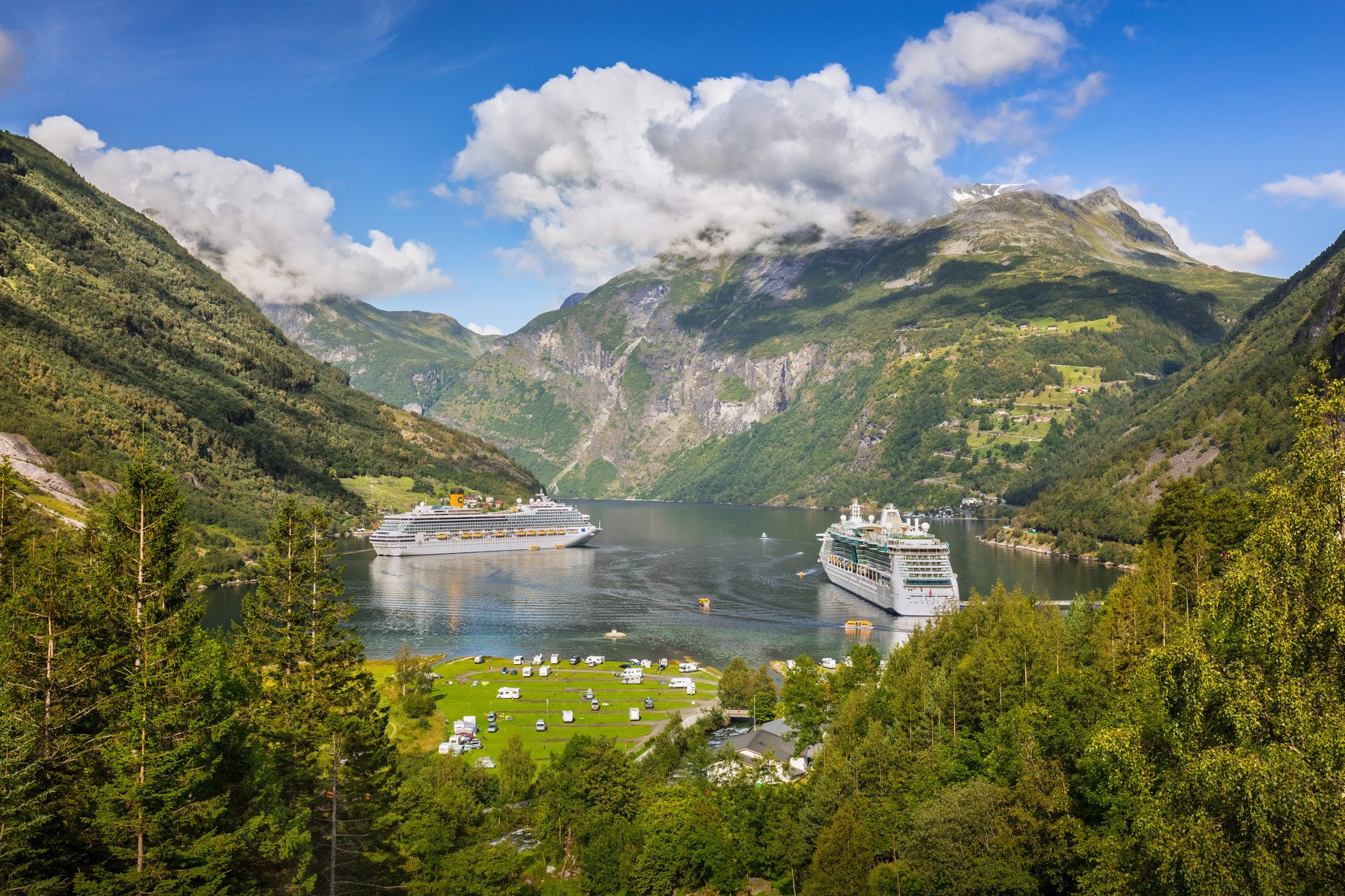 гейрангер, норвегия, горы, порт, море, корабли, облака,, Marat Max (Марат Макс)