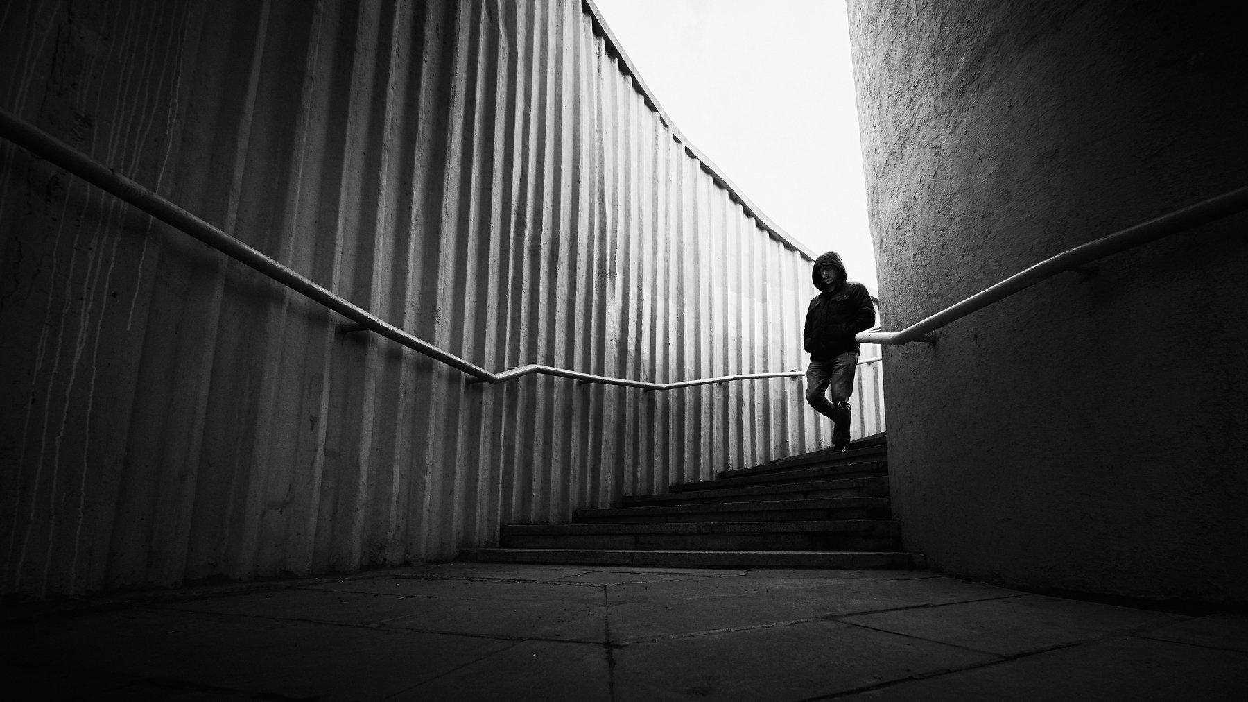 man, alone, steps, stairs, alone, light, shadow, city, street, walk, walking, Кыштымов Максим
