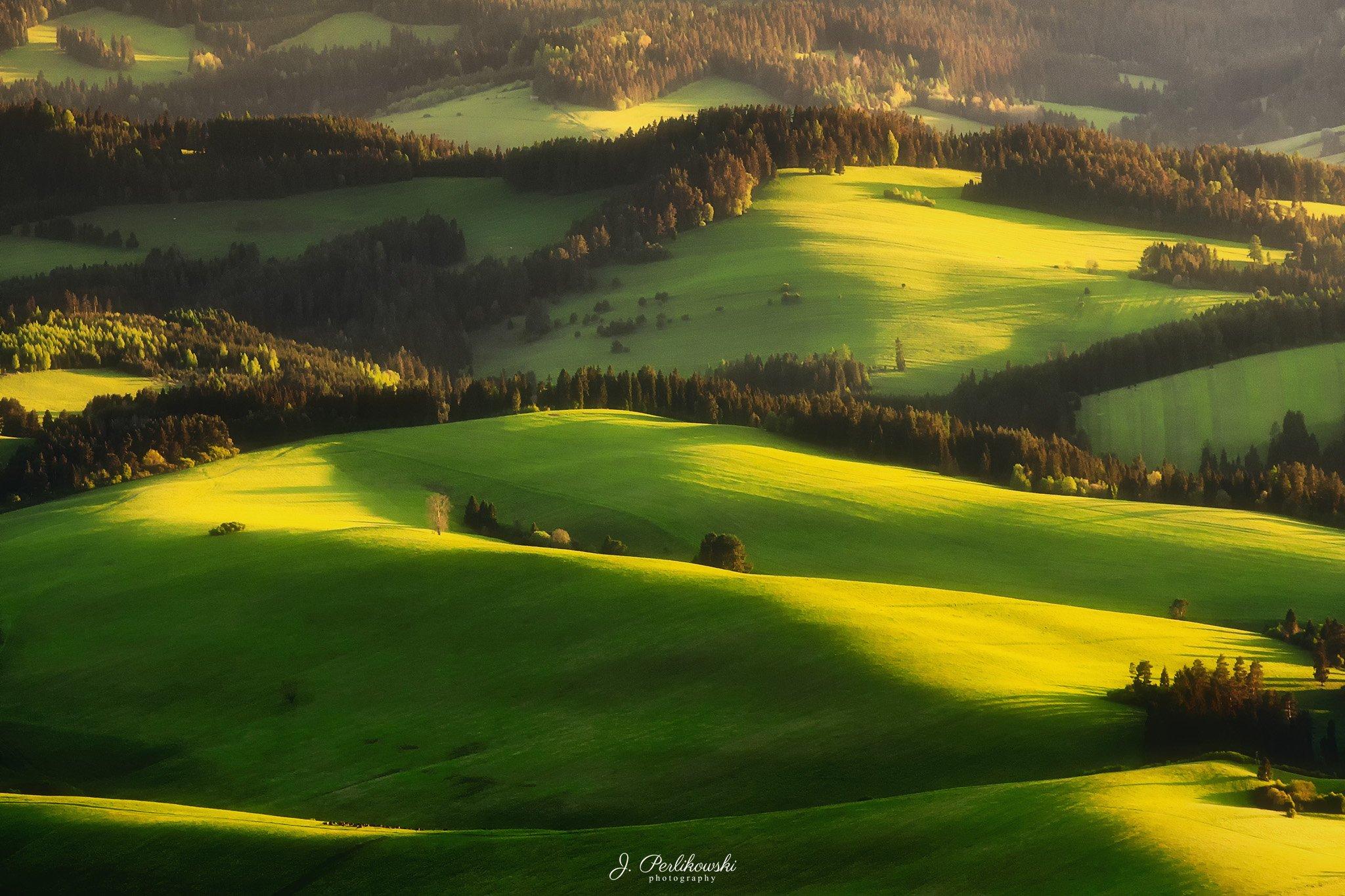 spring, fields, gold, mountains, hills, green, light,, Perlikowski Jakub