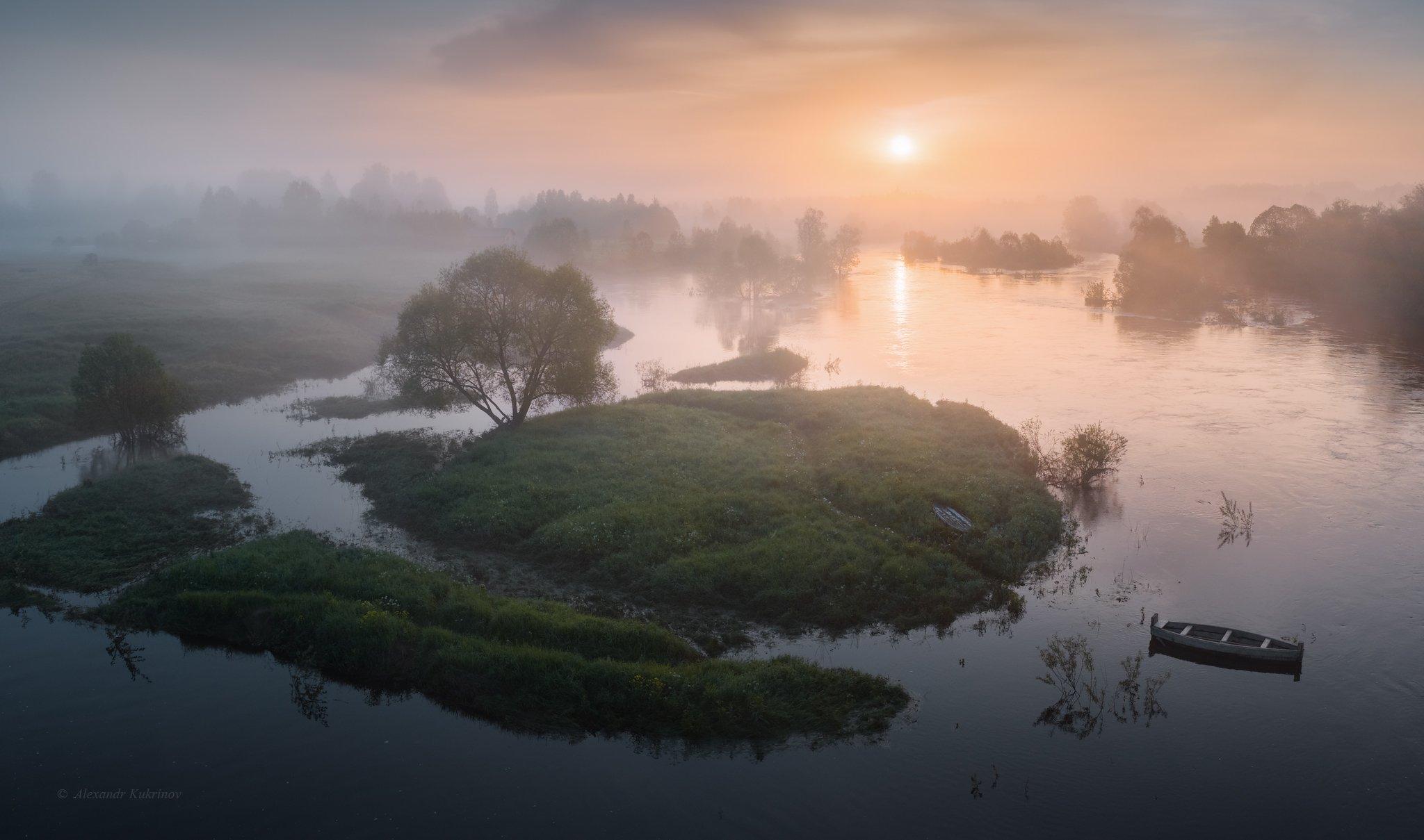 рассвет,пейзаж,утро,река,угра,лето,туман, Александр Кукринов