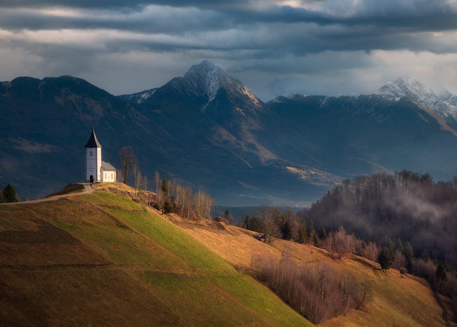 Словения, горы, веса, церковь, холмы, Cтанислав Малых