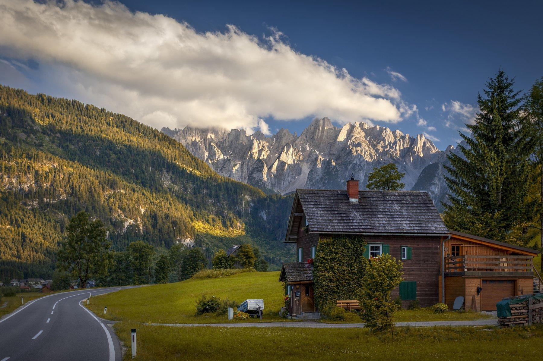 дорога, дом, горы, Alexandr Bezmolitvenny