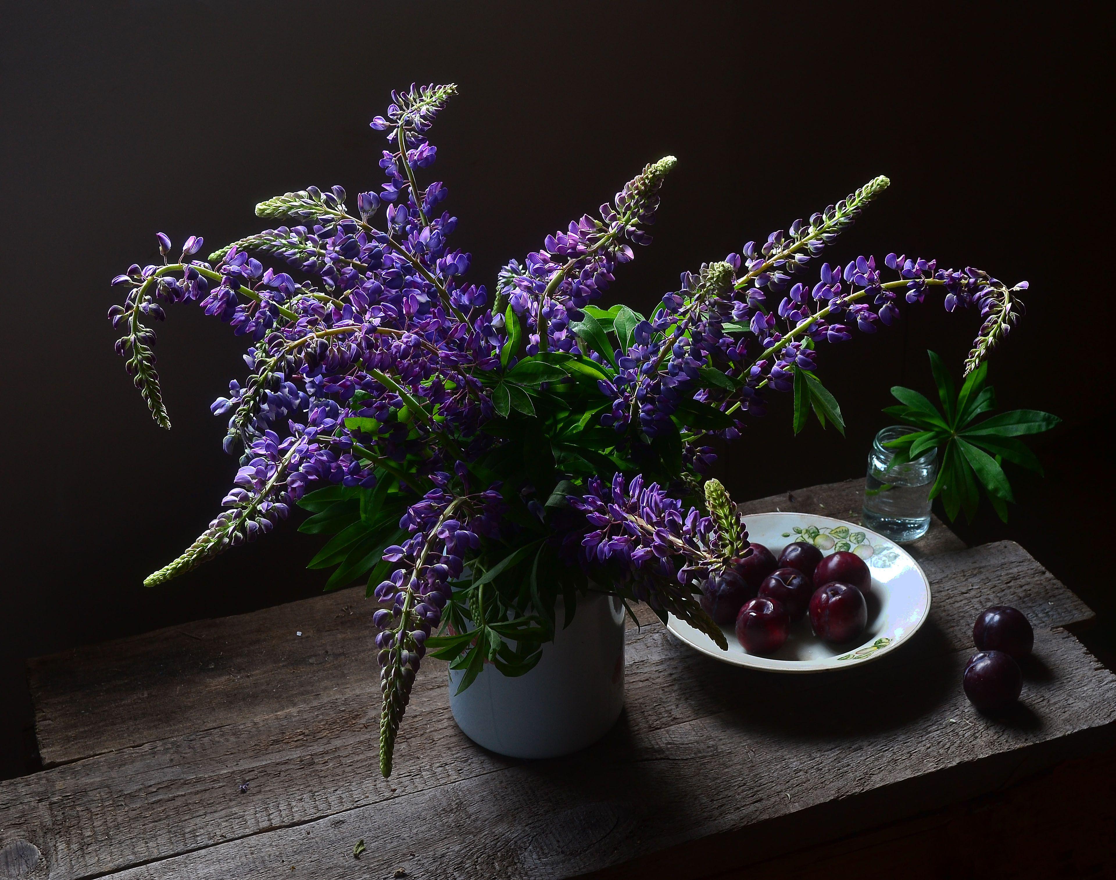 люпины, сливы, натюрморт, мне, все, фиолетово, Оксана Евкодимова