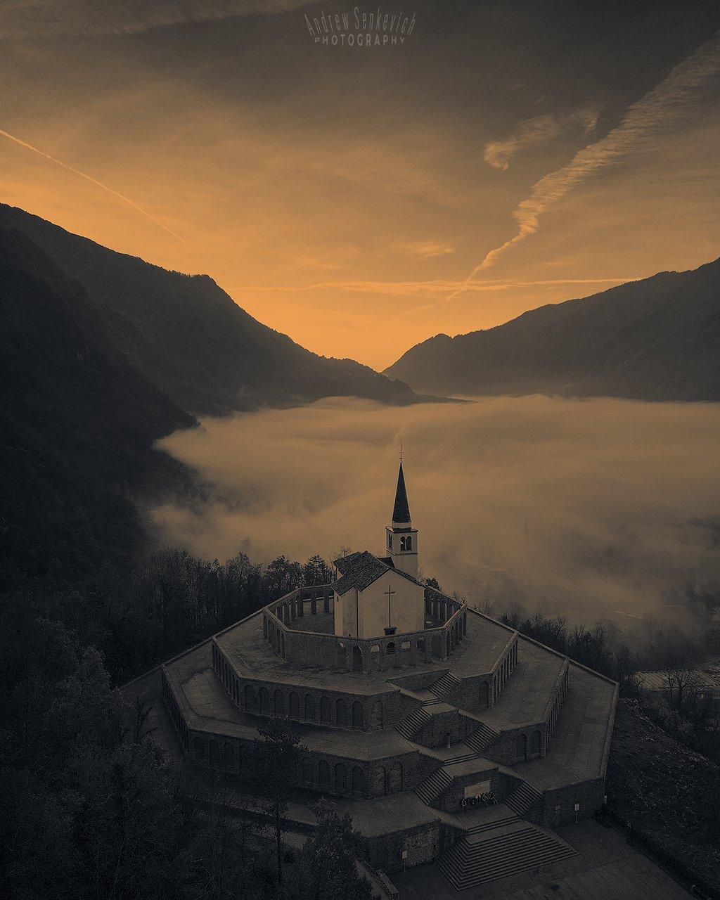 slovenia, mist, autumn, sunrise, fog, Сенкевич Андрей