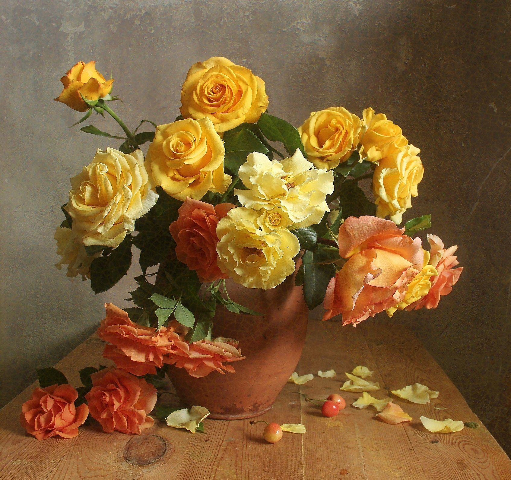 лето,  цветы, натюрморт, марина филатова, розы, букет цветов, Филатова Марина