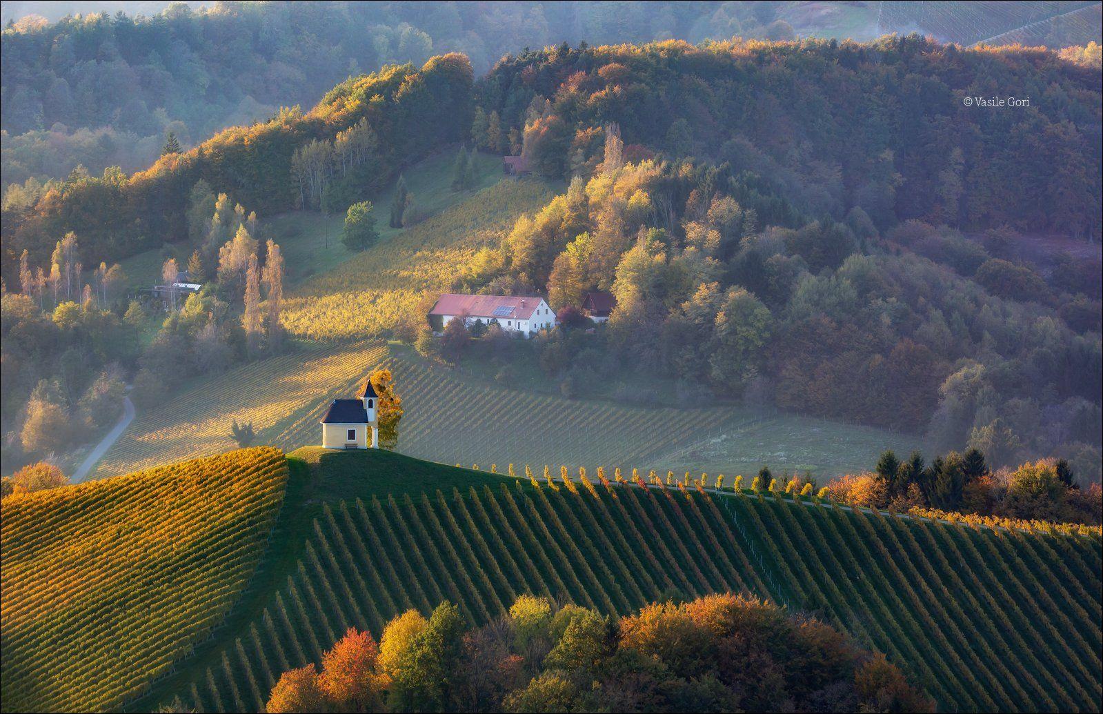 dreisiebner kapelle,свет,часовня,штирия,chapel,гамлитц,австрия,gamlitz- sernau,landscape,панорама,осень, Василий Гори.