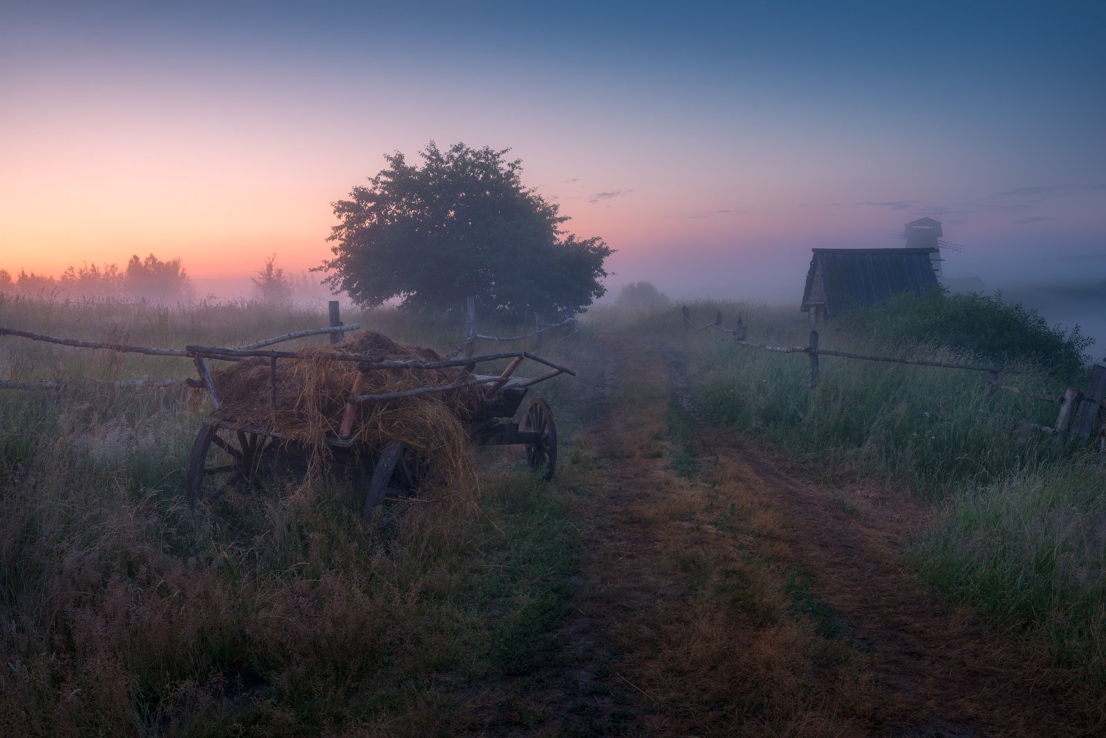 туман, утро, деревня, телега, дорога, рассвет, Cтанислав Малых