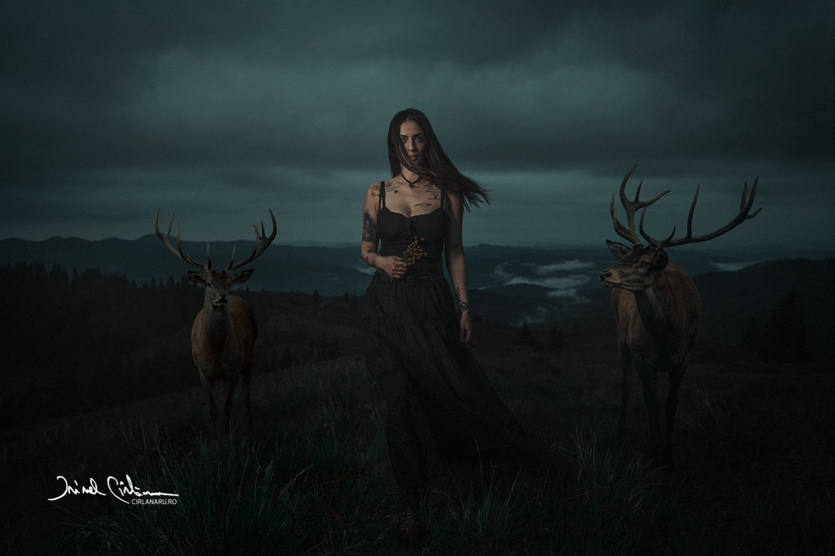 deer, tamer, portrait, mood, female portrait, Irinel Cirlanaru