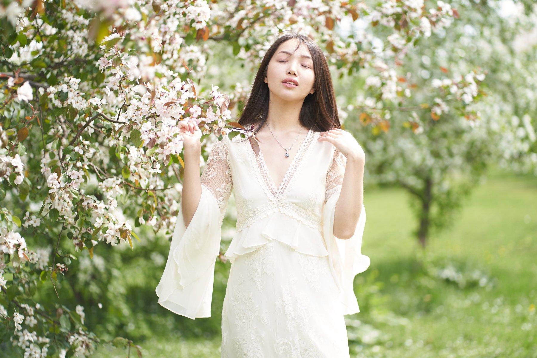 яблоня, весна, цветок, губы, розовый, глаза, Япония, сакура, девушка, Комарова Дарья