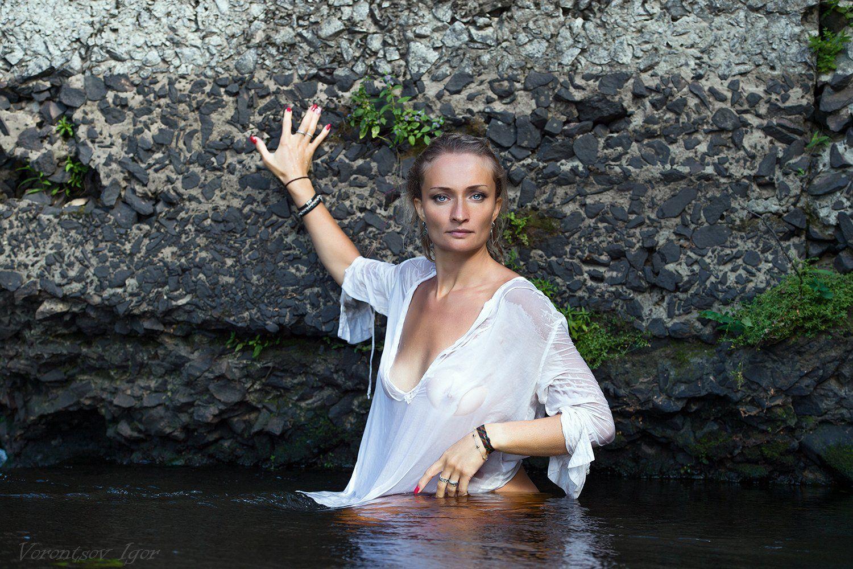 ню, девушка, грудь, обнажённая, красивая, река, природа, Воронцов Игорь