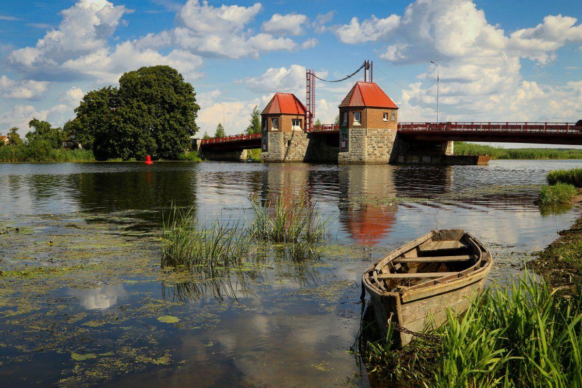 природа, река, мост, лодка, Шруб (Беляева) Татьяна