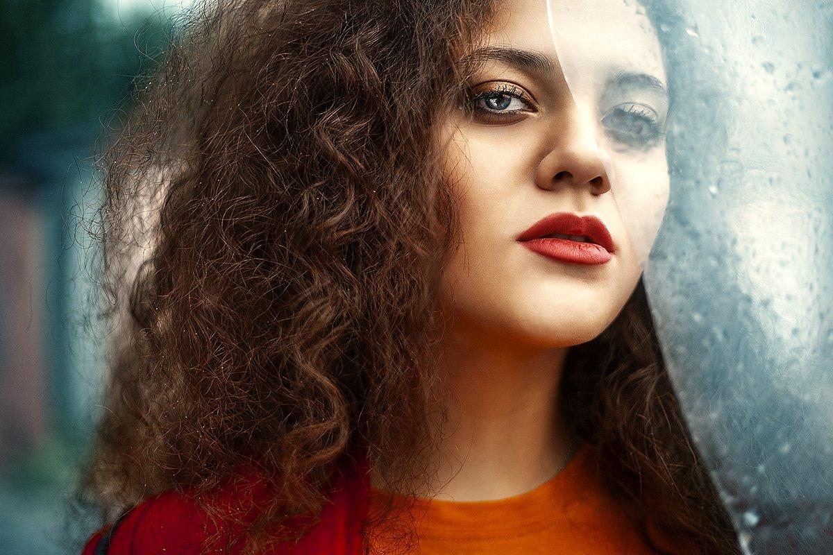 дождь, стекло, портрет, цвет, капли, девушка, Маховицкая Кристина