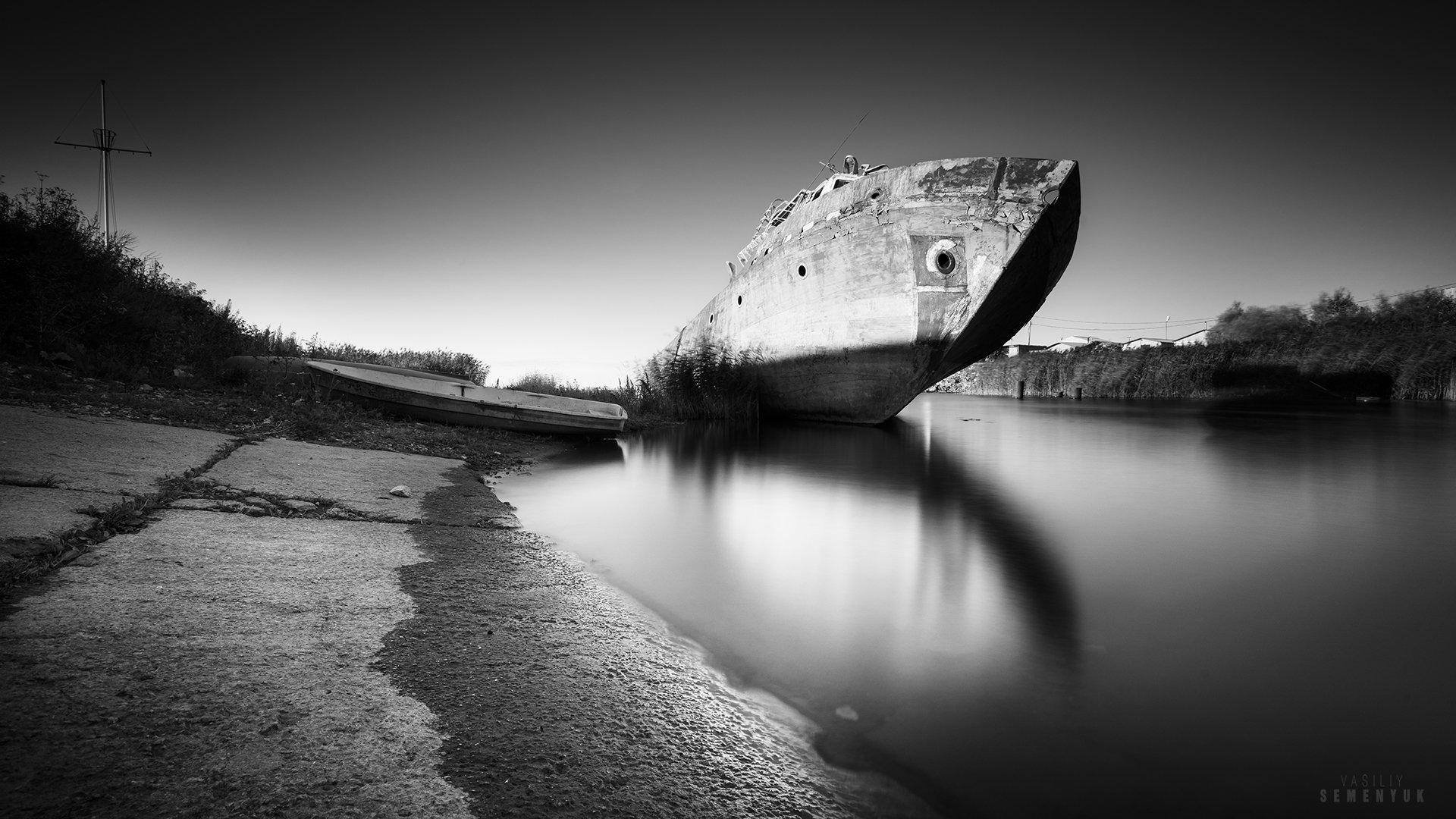 балтика, тральщик, корабль, ч/б, длинная выдержка, wreck, b/w, baltic sea, long expousure., Семенюк Василий