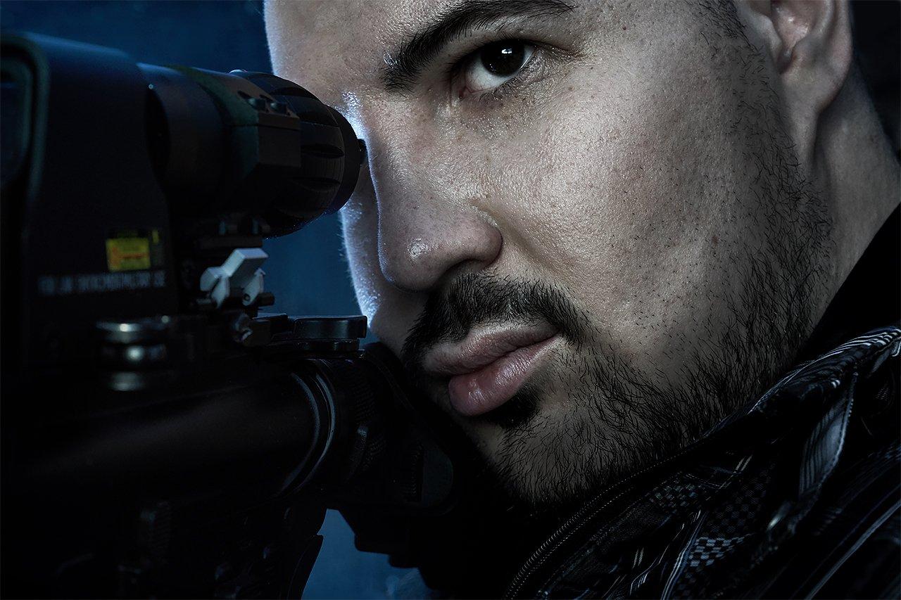 мужчина, ружье, автомат, оружие, портрет, снайпер , Комарова Дарья